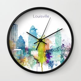 Colorful Louisville skyline design Wall Clock