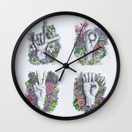 LOVE ASL Art- square version Wall Clock