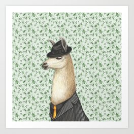 Gangster Llama in a Fedora and pinstriped suit Art Print