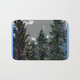 BABY BLUE WESTERN PINE TREES  LANDSCAPE Bath Mat