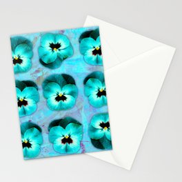 9 turquoise on light blue and violet Stationery Cards