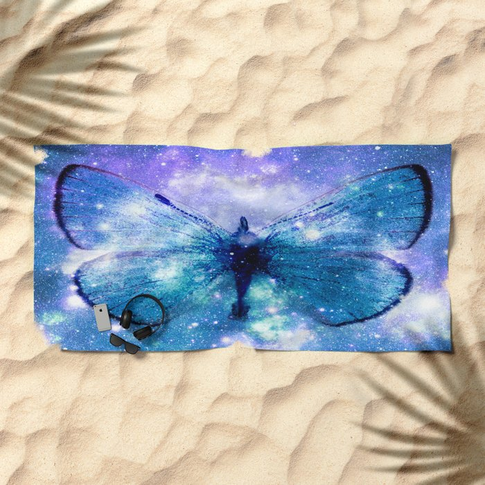 Celestial Butterfly Violet Teal Beach Towel