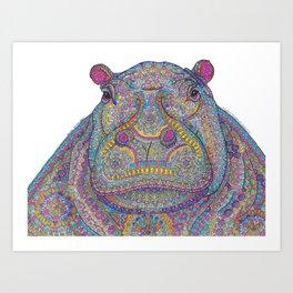 Hippie-Potamus (Multicolour) Art Print