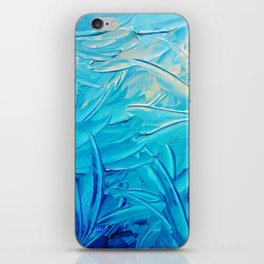 WATER FLOWERS - Beautiful Water Ocean Theme Shades Blue Floral Modern Design Abstract Painting iPhone Skin