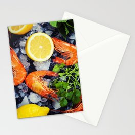 Tiger Shrimps on Ice with lemon and herbs Stationery Cards