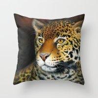 jaguar Throw Pillows featuring Jaguar by Claudia Hahn