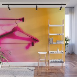 wood hanger with pink and orange background Wall Mural