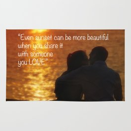 Love is in the air. Romantic sunset for two young lovers. Rug