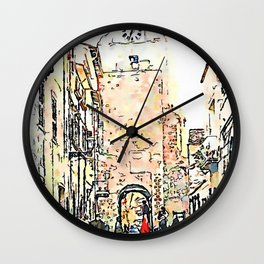 Barbarano Romano: street with tower Wall Clock