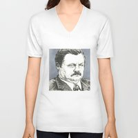ron swanson V-neck T-shirts featuring Ron Swanson by Molly Morren