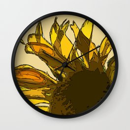 Yellow sunflower painting sketched Wall Clock