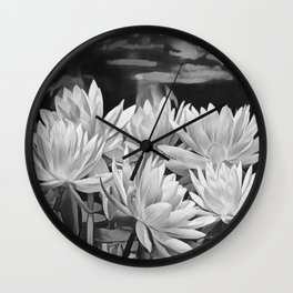 Water Lily in Black and White Wall Clock