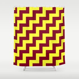 Electric Yellow and Burgundy Red Steps RTL Shower Curtain