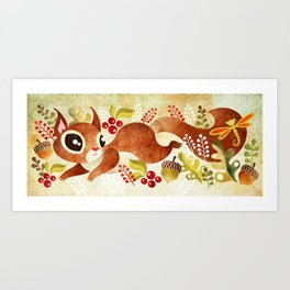 Playful Squirrel Art Print