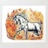 unicorn Art Prints featuring Unicorn by Stephanie Stonato