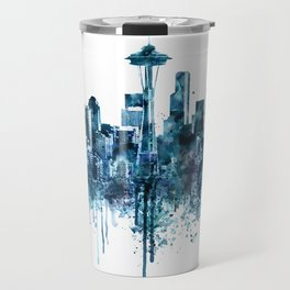 Seattle Skyline monochrome watercolor Travel Mug