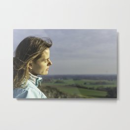 Girl Enjoys Moody Sundown At Tecklenburger Bergpfad Germany Metal Print