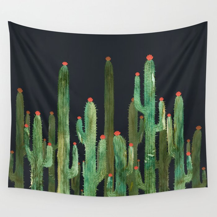 Cactus Four at night Wall Tapestry