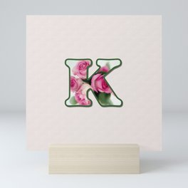 Letter K Rose Monogram Mini Art Print