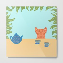 Tea With Tiger Metal Print