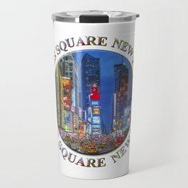 Times Square Broadway (New York Badge Emblem on white) Travel Mug