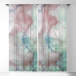 Colorful watercolor marble Sheer Curtain