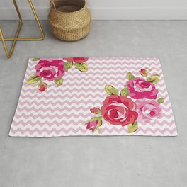 Roses on geometric pattern Rug