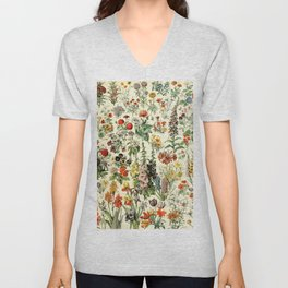 Adolphe Millot- Vintage Flowers Illustration Unisex V-Neck