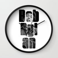woodstock Wall Clocks featuring Bob Dylan Font Black And White by Fligo