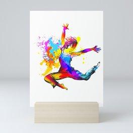 Hip hop dancer jumping Mini Art Print