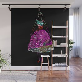 Audrey Pink Glitter Dress Wall Mural