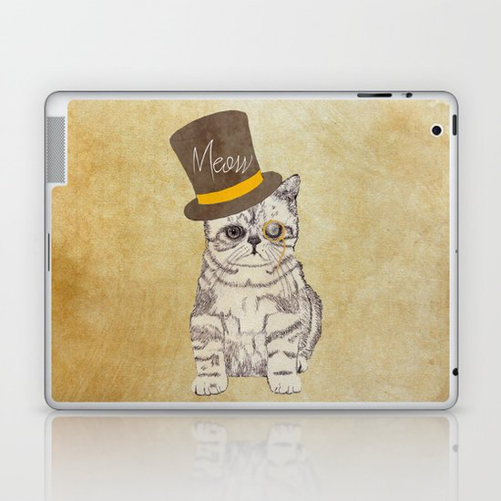 Meow | Funny Cute Kitten Cat Vintage Sketch Monocle and Top Hat Laptop & iPad Skin