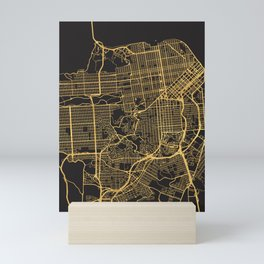 SAN FRANCISCO CALIFORNIA GOLD ON BLACK CITY MAP Mini Art Print