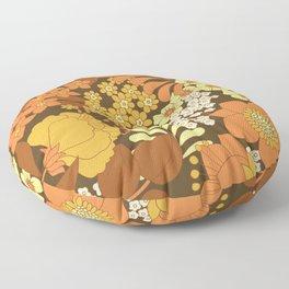 Brown, Yellow, Orange & Ivory Retro Flowers Floor Pillow