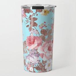 Modern vintage teal pink country floral Travel Mug