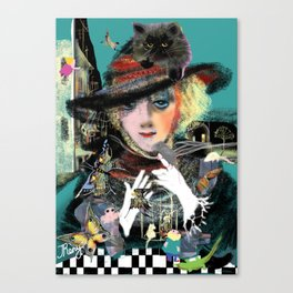 portrait of a woman in hat and a small persian cat on top of her head Canvas Print