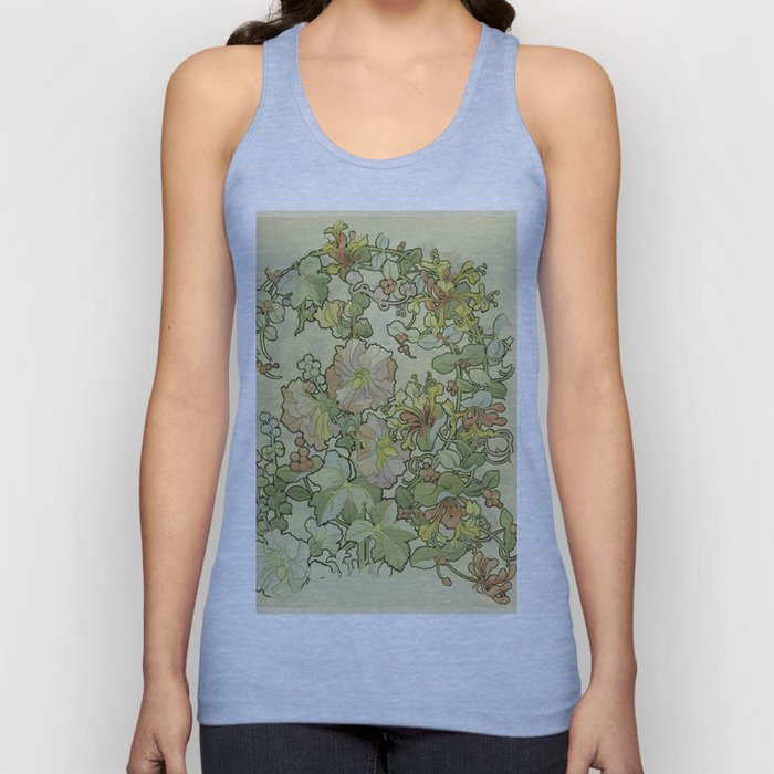 "Alphonse Mucha ""Printed textile design with hollyhocks in foreground"" Unisex Tank Top"