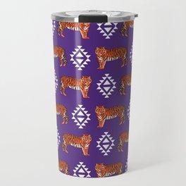 Tiger Clemson purple and orange university fan varsity college football Travel Mug