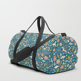 Dinosaurs + Unicorns in Blue + Coral Duffle Bag