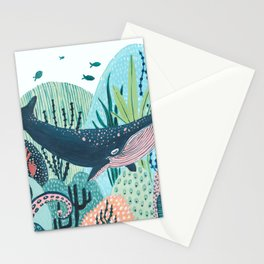 Happy Blue Whale Stationery Cards