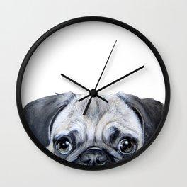 pug Dog illustration original painting print Wall Clock