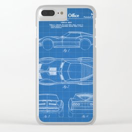 Classic Car Patent - American Car Art - Blueprint Clear iPhone Case