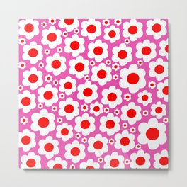 Pink Red White Pop Flowers Metal Print
