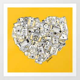 Camera Heart - on yellow Art Print