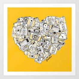 Camera Heart - on yellow Art Print