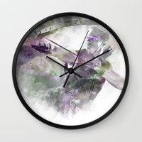 clint barton Wall Clocks featuring Clint Barton  by NKlein Design
