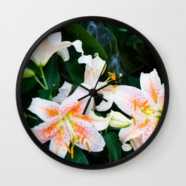 lilies and leaves Wall Clock