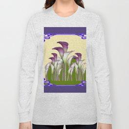 ART NOUVEAU CALLA LILIES PURPLE MODERN ART DESIGN Long Sleeve T-shirt