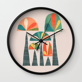 Quirky retro palm trees Wall Clock