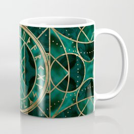 Web of Wyrd The Matrix of Fate - Gold and Malachite Coffee Mug